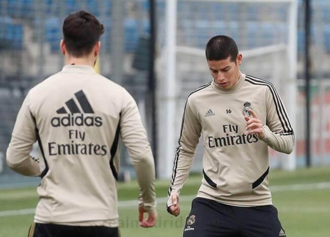 ¿Jugará el domingo? James ya trabaja con el grupo completo en Real Madrid